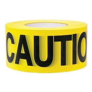Yellow Caution Barricade Tape 3 in X 1000 ft • Bright Yellow with a bold Black Print for High Visibility • 3 in. wide fo