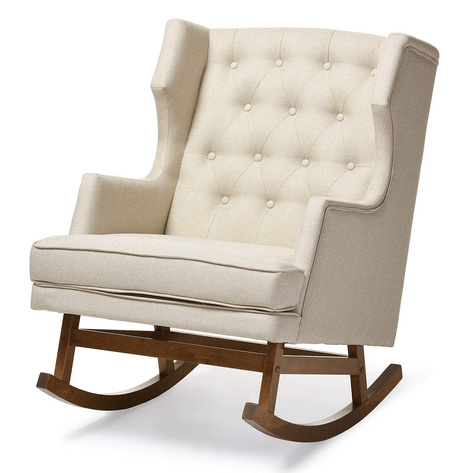 Baxton Studio Iona Mid-century Retro Modern Upholstered Button-tufted Wingback Rocking Chair, Multiple Colors