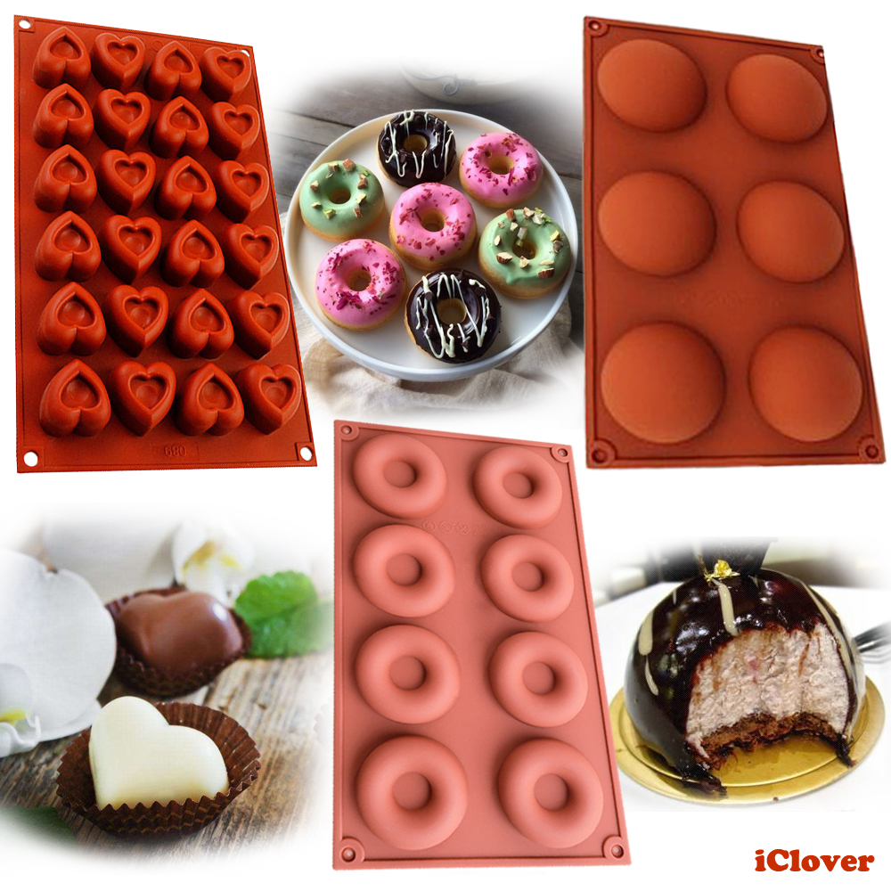 [3in1] Heart-Shape/Donut/Half Circle Silicone Baking Mold,IClover Non-Stick Food Grade Muffin Cups Cake Biscuit Cookie Mold Pan for Making Jello Candy Cheesecake Brownie