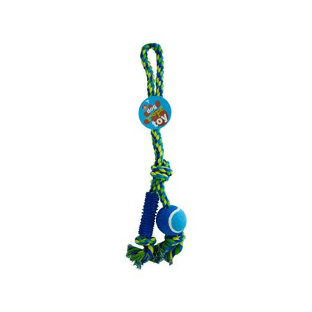 Bulk Buys OC433-8 Dog Rope Toy With Ball and Rubber Spikes