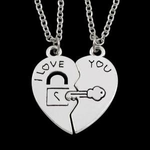Fancyleo Lovers Necklace with A Pair of Students Creative Letters I Love You Joining Together Key Lock Two Heart-Shaped Pendant Couple girlfriends Clavicle Chain Ornaments