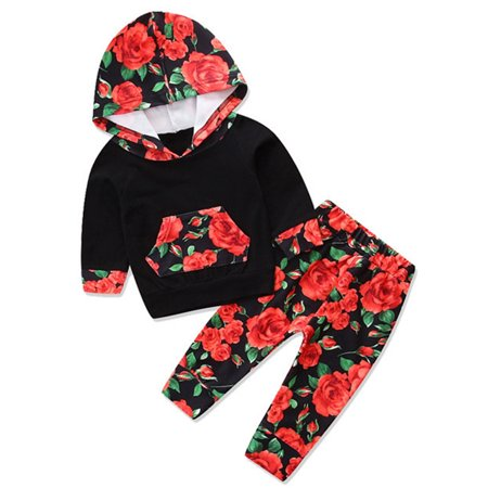 f1844394 StylesILove - stylesilove Infant Baby Girl Floral Pattern Long Sleeve Hoodie  and Pants Cotton Outfit (100/18-24 Months, Black/Red Rose) - Walmart.com