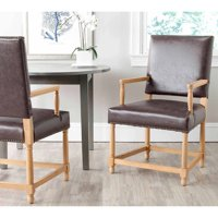 Safavieh Faxon Bicast Leather Arm Chair, Antique Brown with Brass Nail Heads