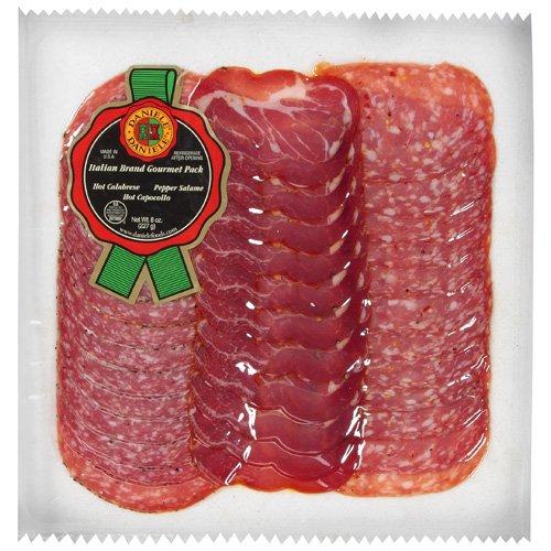Daniele Hot Calabrese, Pepper Salame, Hot Capocollo Italian Brand Gourmet Pack, 8 oz