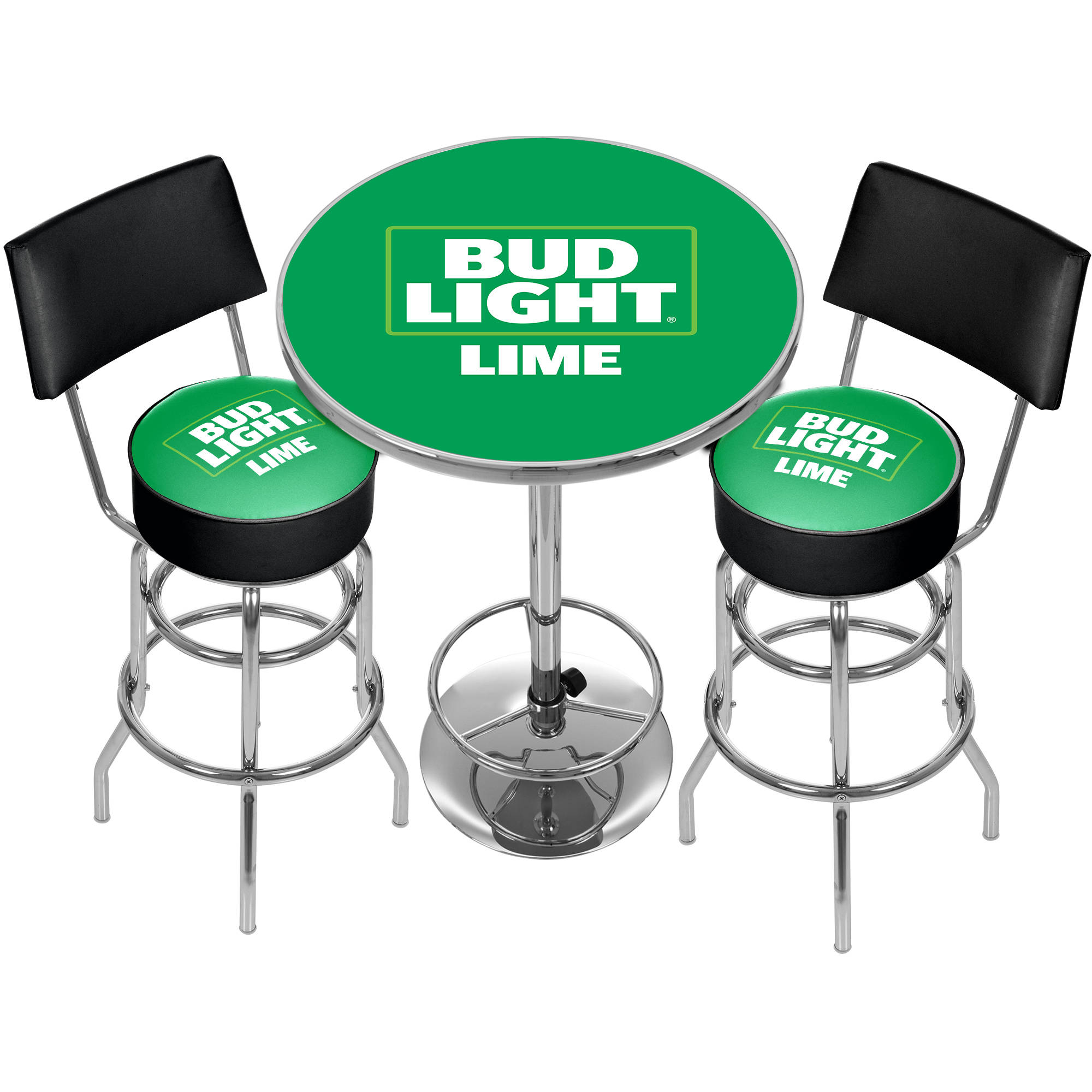 Bud Light Lime Metal 2 Shelf Portable Bar Table With Carrying Case