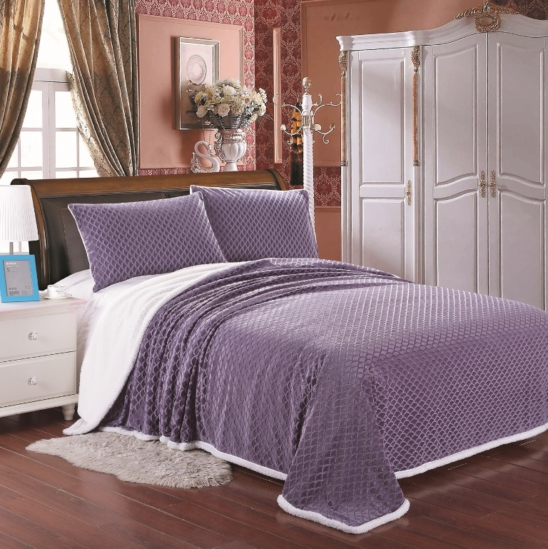 Luxurious Soft Mermaid Sherpa Lined Blanket, Queen, King, 6 Colors Available! (Queen, Lavender)