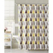 Luxury Home 100 Percentage Cotton Le-Croix Shower Curtain, Yellow & Tan - 72 x 72 inch
