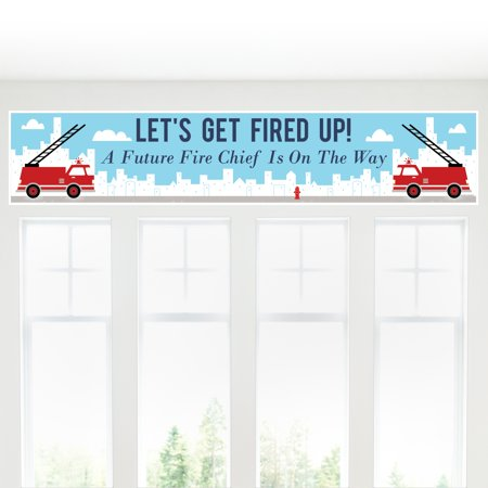 Fired Up Fire Truck - Firefighter Firetruck Baby Shower Decorations Party Banner](Fire Truck Party Decorations)
