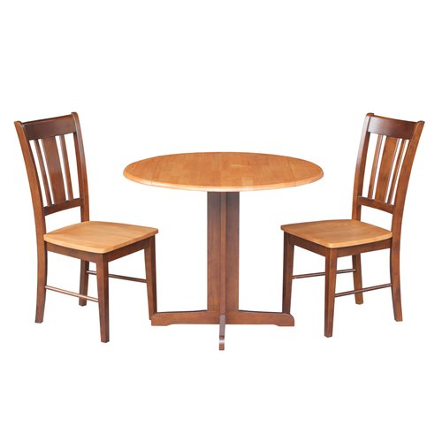 "36"" Dual Drop Leaf Table with 2 San Remo Chairs, Multiple Finishes"
