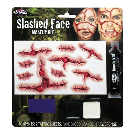 Slashed Face Makeup Kit Adult Halloween Accessory (Halloween Rockabilly Makeup)