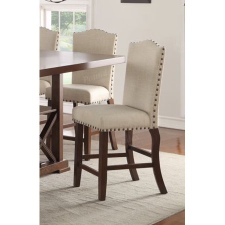 Set of 2 Formal -24'' Seat High Chairs Upholstered Cushion Trim Button Counter Stool](24 Chair)