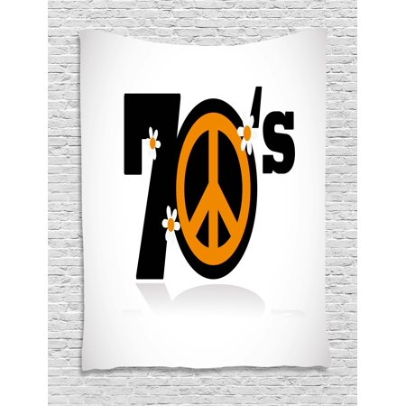 70s Party Decorations Tapestry, Seventies Peace Symbol with Daisies Rock n Roll Art Print, Wall Hanging for Bedroom Living Room Dorm Decor, 40W X 60L Inches, Black Marigold White, by Ambesonne (Rock N Roll Room Decor)