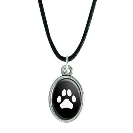 Paw Print Dog Cat White on Black Antiqued Oval Charm Pendant with Black Satin Cord Morgan Satin Pendant
