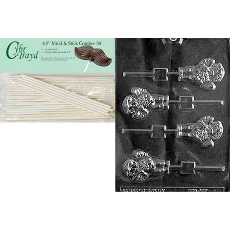 Cybrtrayd 45St50-V134 Cherub Lolly Valentine Chocolate Candy Mold with 50 4.5-Inch Lollipop Sticks