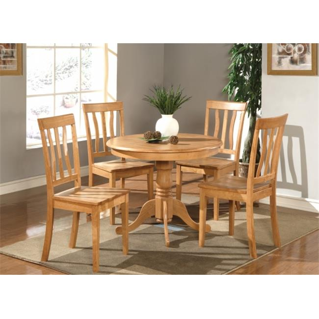 East West Furniture ANTI5-OAK-W 5 -Piece Antique Round Kitchen 36 inch Table and 4 Chairs with Wood seat