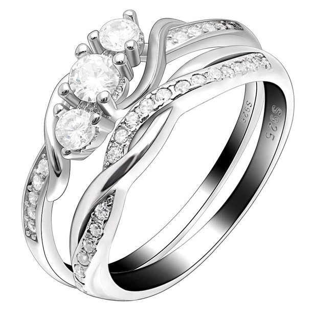 Lydia Sterling Silver 3 Stone Engagement Wedding Band Bridal Ring Set
