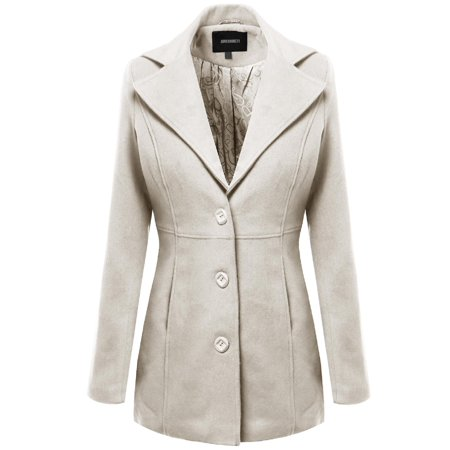 FashionOutfit Women's Warm Classic Single Breasted Winter Coat around 30inch