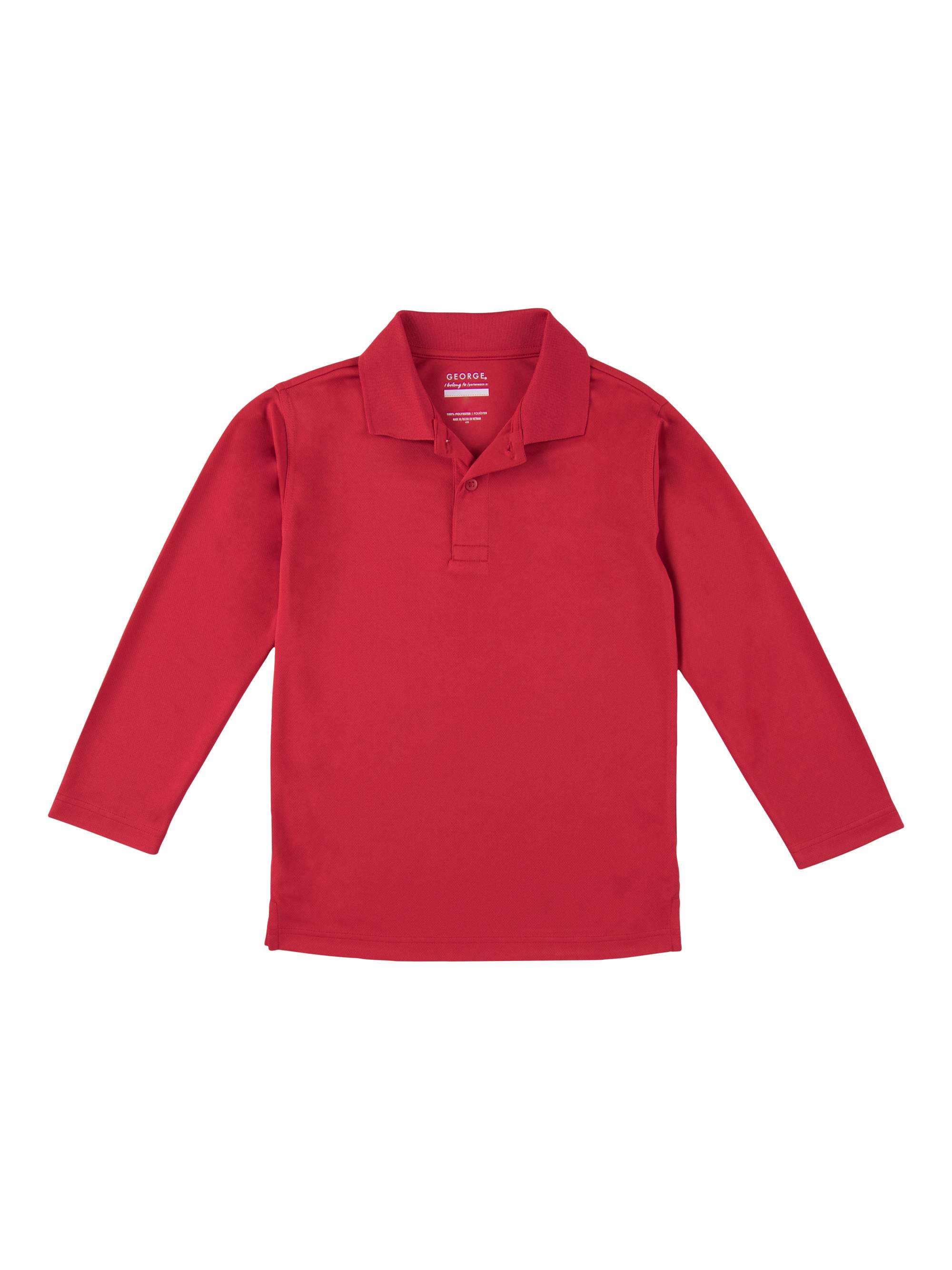 School Uniform Boys Long Sleeve Performance Polo Shirt