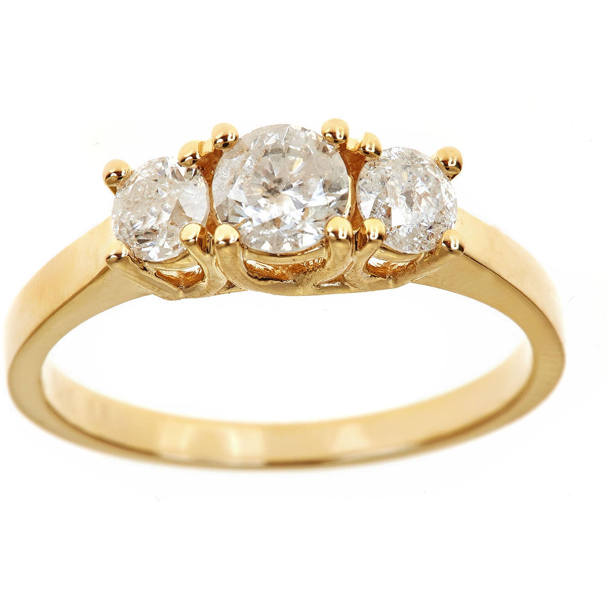1 Carat T.W. Genuine Round White Diamond 14kt Yellow Gold 3 Stone Ring, IGL Certified