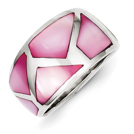 Sterling Silver Pink Mother of Pearl Ring Size 6 - image 1 de 1