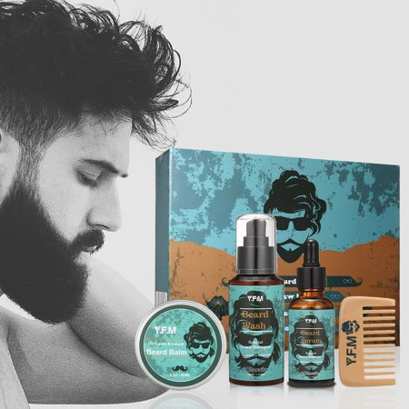 Beard Care Kit, Great for Dry or Wet Beards, Beard Kit Includes: Beard Shampoo + Beard Oil  +Beard Balm + Beard Comb, Beard Gift Set Best Gift for