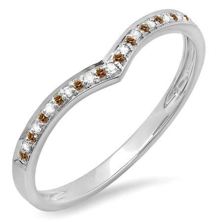 0.10 Carat (ctw) 14K Gold Round Champagne & White Diamond Ladies Wedding Stackable Band Ring 1/10 CT