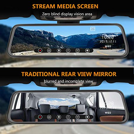 AWESAFE Mirror Dash Cam 10 Inch Touch Screen 1080P Rear View Mirror Camera Front and Rear Dual Lens Backup Camera - image 5 de 5