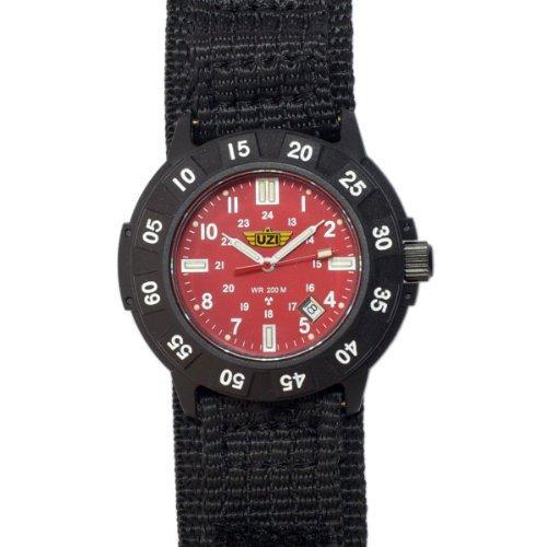 UZI  Protector Tritium Watch with Red Face Nylon Strap - UZI-003-N