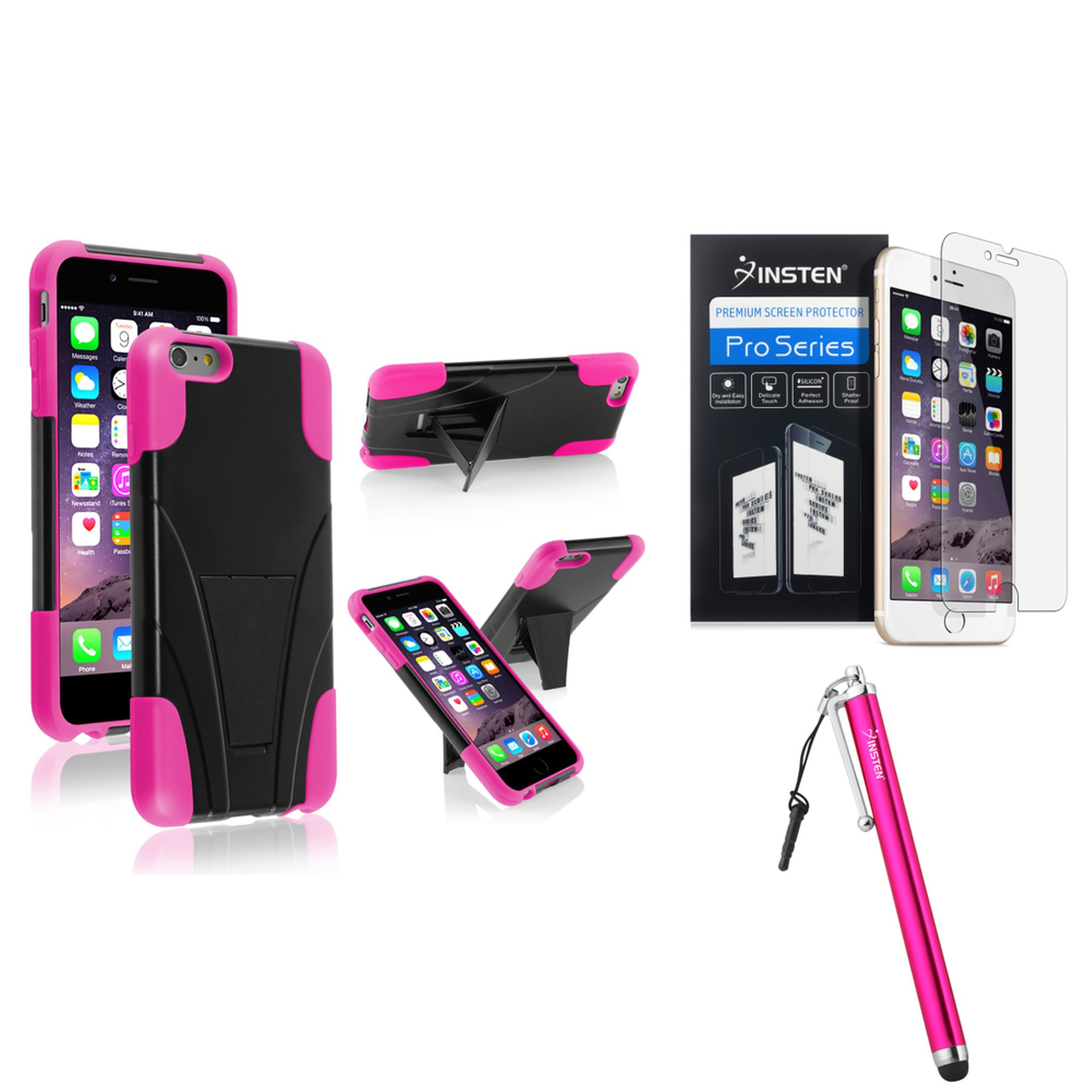 Insten Pink Hybrid T-Stand Case Cover+Touch Stylus+Clear Screen Protector For iPhone 6S Plus / 6 Plus 5.5""