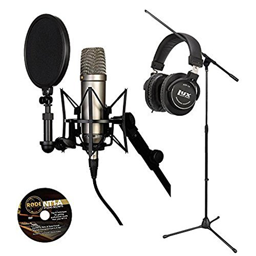 Rode NT1-A Cardioid Condenser Microphone w/ LyxPro Headphone and Floor Stand