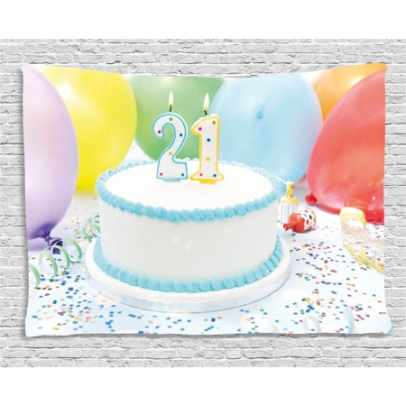 21st Birthday Decorations Tapestry Legal Age Of USA 21 Party Cake With Colorful Balloons Wall Hanging