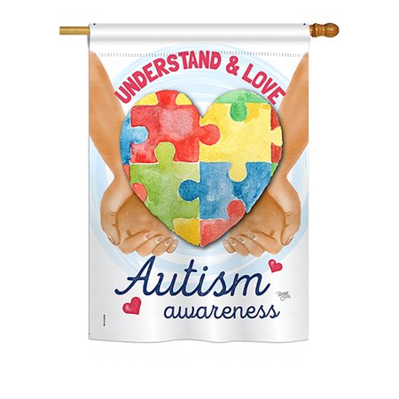 Breeze Decor - Understand Autism Awareness Inspirational - Everyday Support Impressions Decorative Vertical House Flag 28