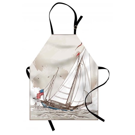 Vintage Apron Illustration of a Retro View of Antique American Yacht with Flags Ocean, Unisex Kitchen Bib Apron with Adjustable Neck for Cooking Baking Gardening, Pale Grey Tan White, by Ambesonne ()