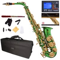 Mendini by Cecilio Eb Alto Sax w/Tuner, Case, Mouthpiece, 10 Reeds, Pocketbook and 1 Year Warranty, MAS-GL Green Lacquer E Flat Saxophone