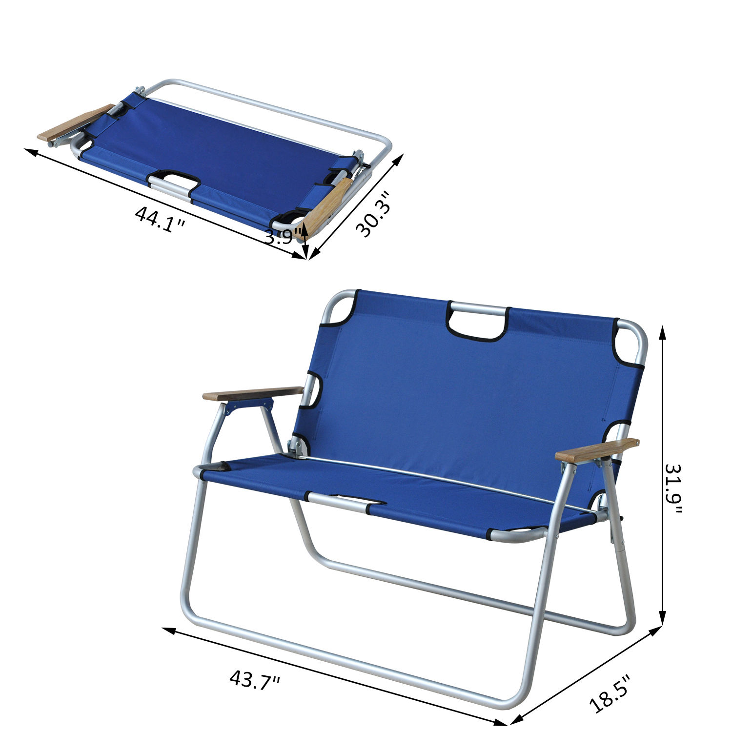 Swell Outsunny 2 Person Folding Aluminum Love Seat Camping Chair Blue Theyellowbook Wood Chair Design Ideas Theyellowbookinfo