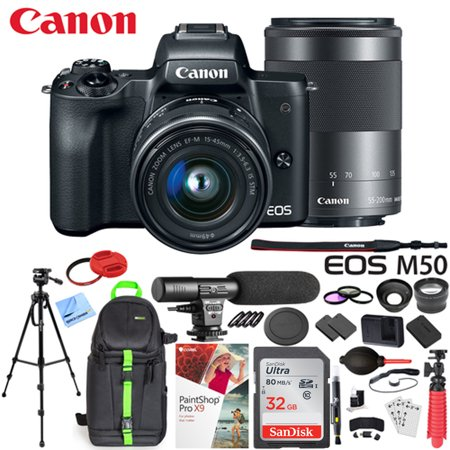Canon EOS M50 Mirrorless Camera w/ 4K Video EF-M 15-45mm and EF-M 55-200mm Lens Deluxe 32GB Triple Battery Bundle with Shotgun Mic, Backpack, Tripod and