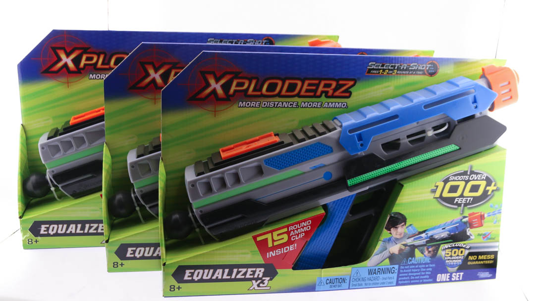 3 QTY Xploderz Equalizer X3 Toy Guns Soft Pellet Shooter + 500rds Ammo New by