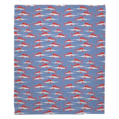 Breakwater Bay Lepore Sailfish School Coral Fleece Throw Blanket