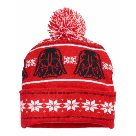 Hat Stocking Cap Beanie - Mens Red Star Wars Pom Beanie Darth Vader Stocking Cap Hat