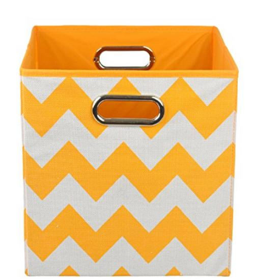 Modern Littles Folding Storage Bin, Bold Orange Chevron