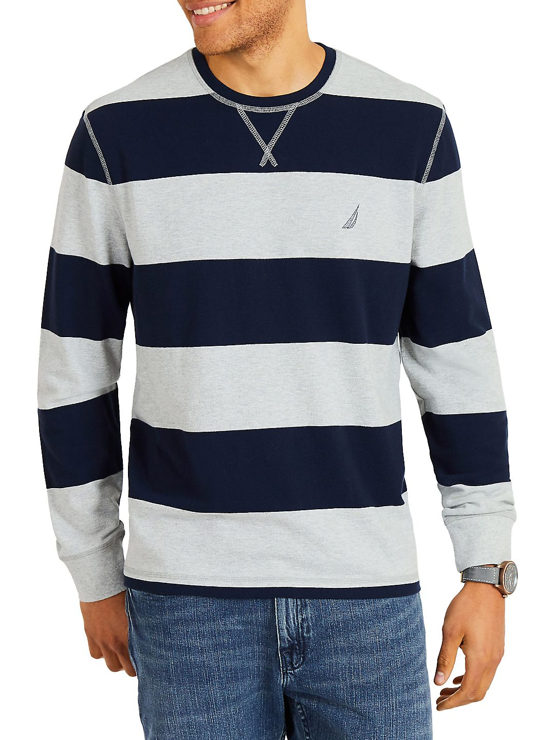 Long Sleeve Rugby Stripe Crewneck Sweater