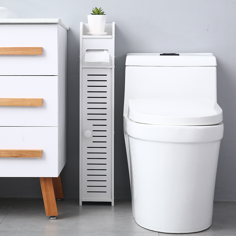 XGEEK Small Bathroom Storage Corner Floor Cabinet with ...
