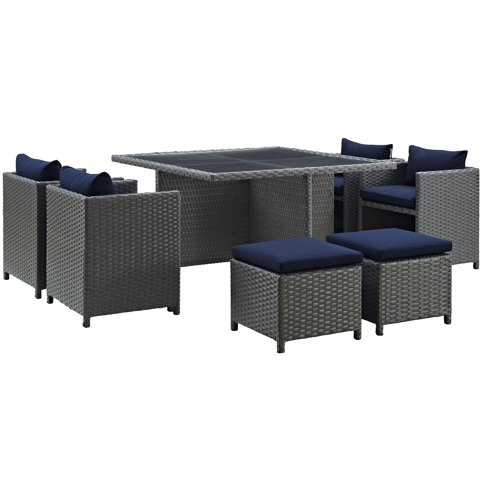 Modern Contemporary Urban Design Outdoor Patio Balcony Nine PCS Dining Chairs and Table Set, Navy Blue, Rattan