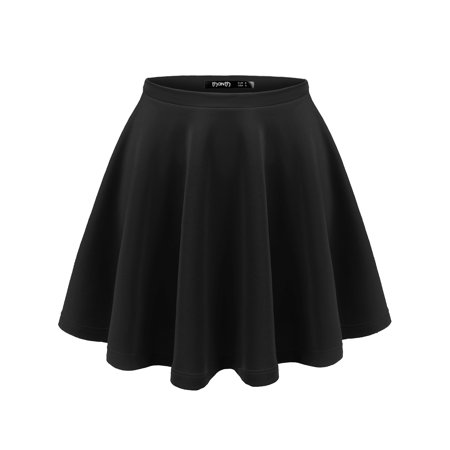 - Doublju Womens Round Pleated Short Skirt With Plus Size BLACK XS