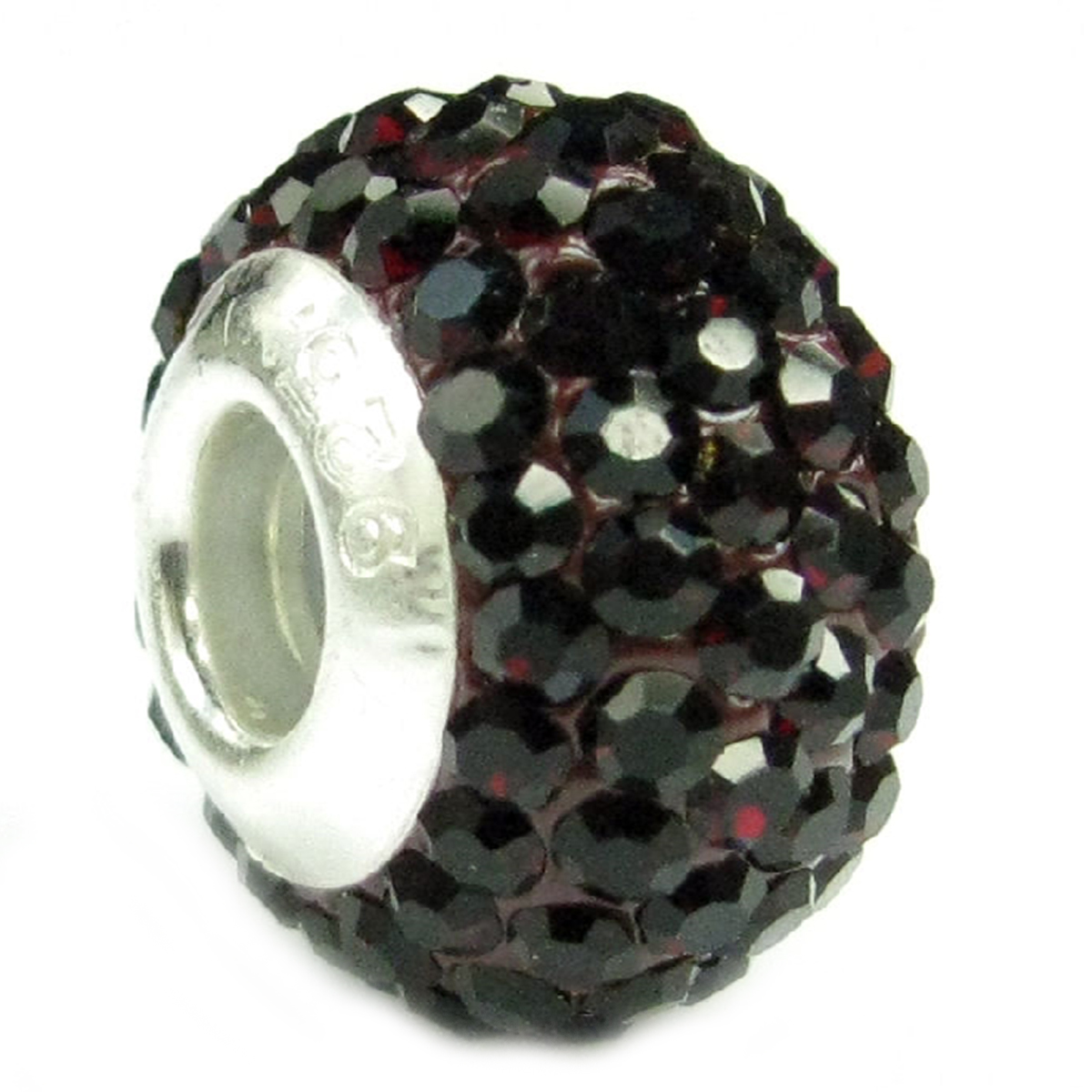 Queenberry Sterling Silve Simulated January Birthstone Round Deep Red Crystal Bead fits Pandora European Charm Bracelets