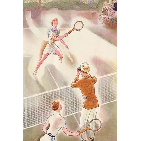 Magazine cover art showing an overzealous photographer who is trying to get a shot of the tennis shot or serve Poster Print by unknown