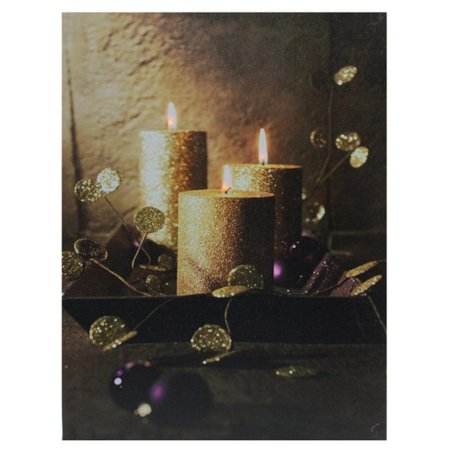 LED Lighted Shimmering Gold Glittered Candles Christmas Canvas Wall Art 15.75