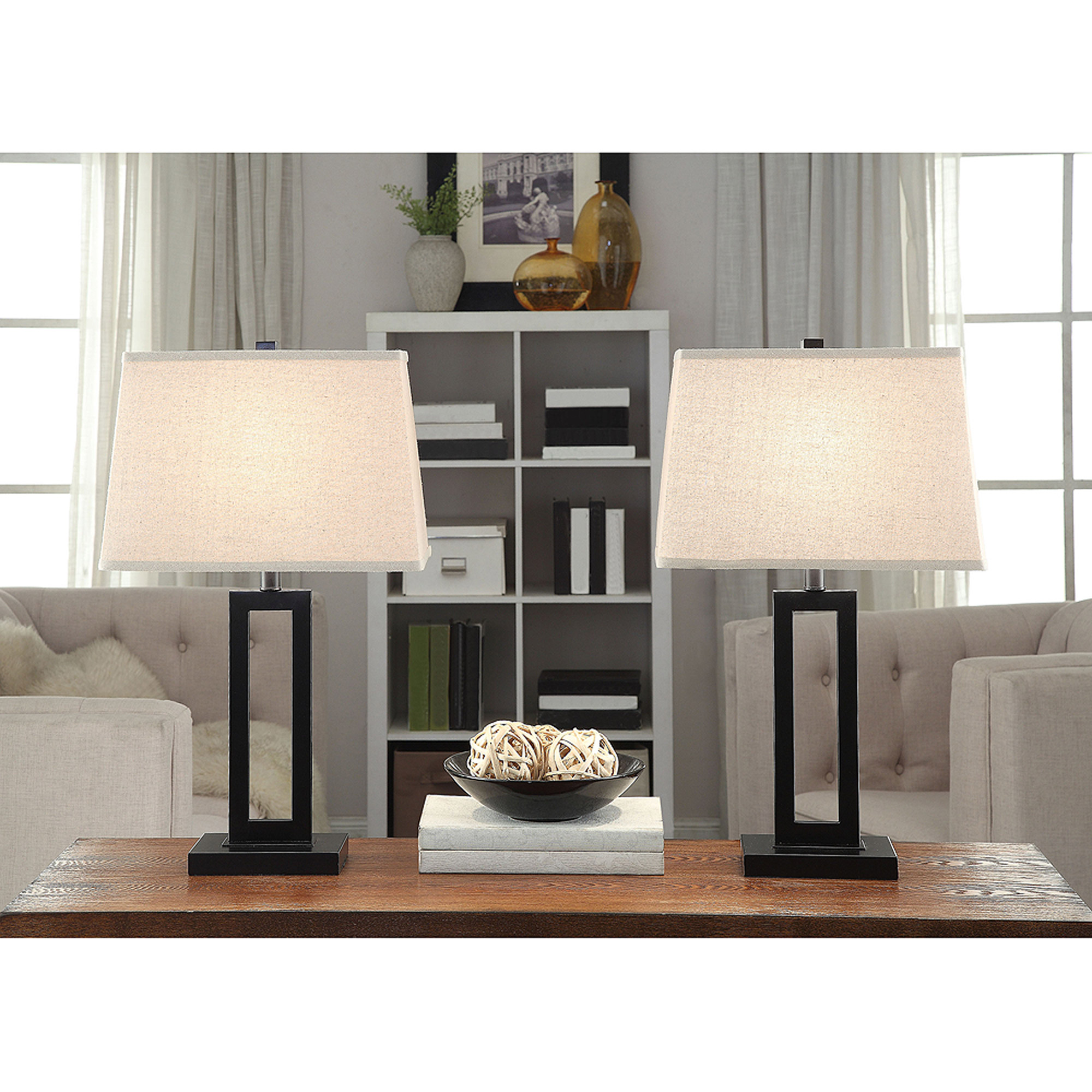 Better Homes and Gardens Open Work Lamps, Set of 2, Black