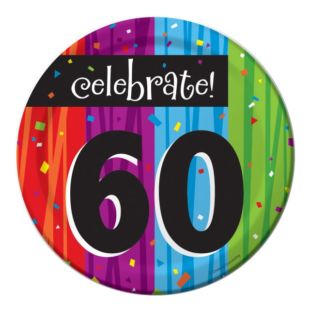 "Party Creations Milestone 60th Celebrations Lunch Plate, 7"",  8 Ct"