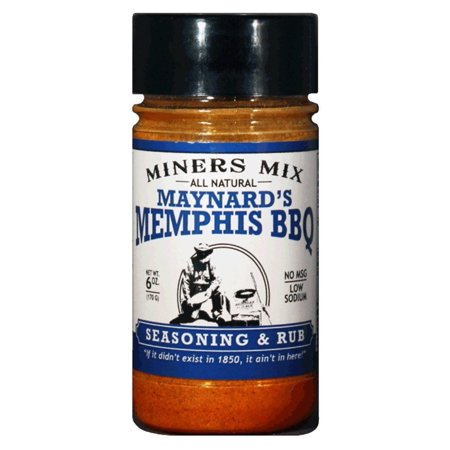 Miners Mix Maynards Memphis BBQ Seasoning. All Natural Barbecue Championship Rub for Pulled Pork, Butts, Baby Backs or Spare Ribs. No MSG, No Preservatives, Low Salt Single (Best Dry Rub For Baby Back Ribs)